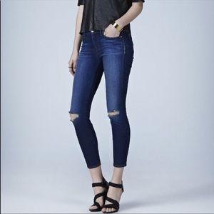 J Brand Distressed Alma Capri Dark Blue Jeans